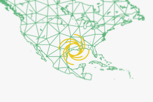 United states map outline with representation of hurricane