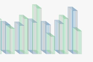 Illustration representing graph with outlined blue and green bars stacked
