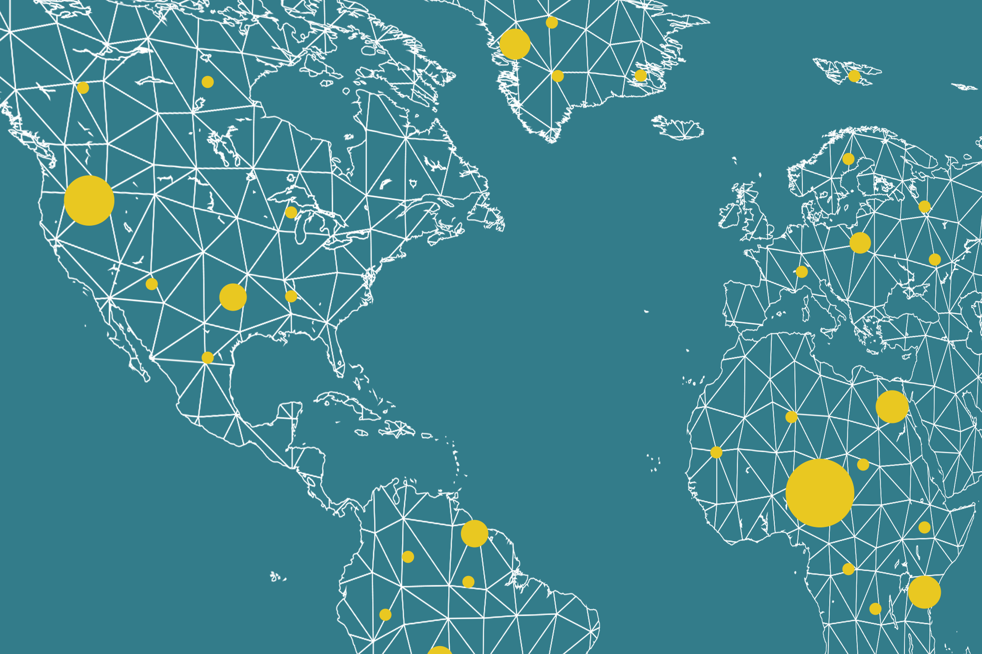 World map with varying sizes of yellow dots