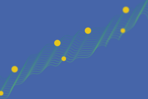 Graphic of parallel flowing lines with yellow dots
