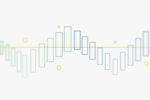 Graphic showing outlined bars in an up and down pattern