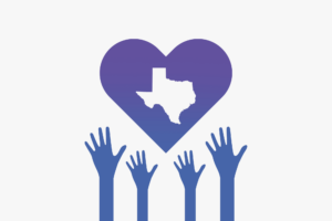 Illustration showing hands reaching up to heart with Texas cutout