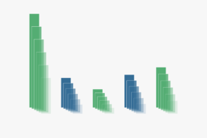 Illustration representing a graph with blue and green vertical bars