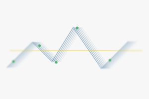 Graph showing up and down lines with green dots